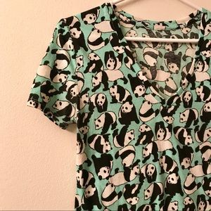 Urban Outfitters Panda V Neck Fitted T-Shirt Small